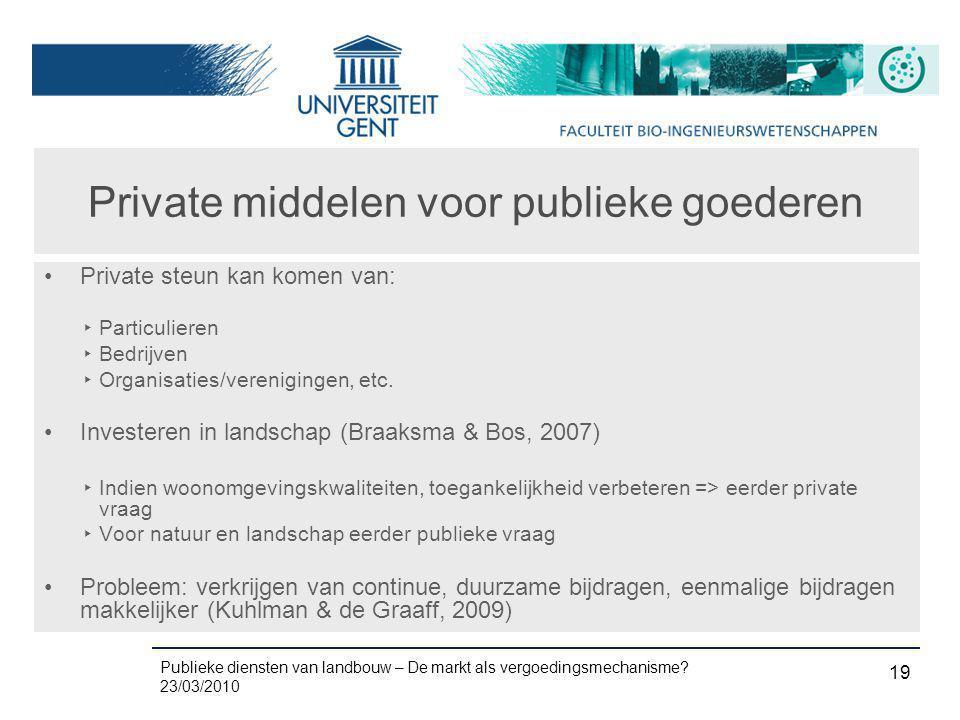 Private middelen voor publieke goederen