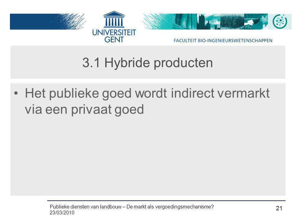 3.1 Hybride producten Het publieke goed wordt indirect vermarkt via een privaat goed
