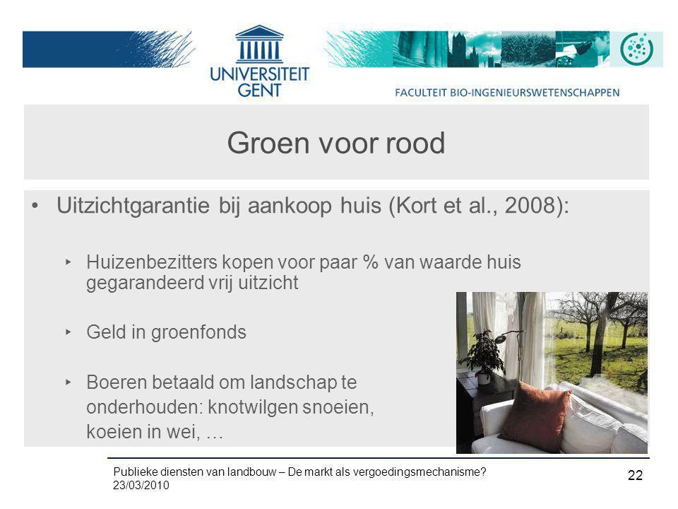 Groen voor rood Uitzichtgarantie bij aankoop huis (Kort et al., 2008):