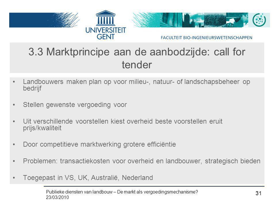 3.3 Marktprincipe aan de aanbodzijde: call for tender