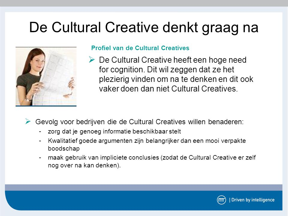 De Cultural Creative denkt graag na