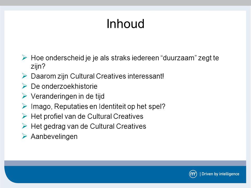 Inhoud Hoe onderscheid je je als straks iedereen duurzaam zegt te zijn Daarom zijn Cultural Creatives interessant!