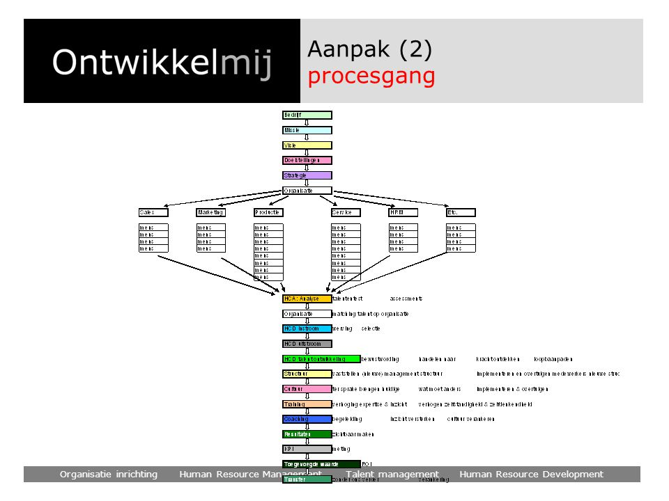 Aanpak (2) procesgang Organisatie inrichting Human Resource Management Talent management Human Resource Development.