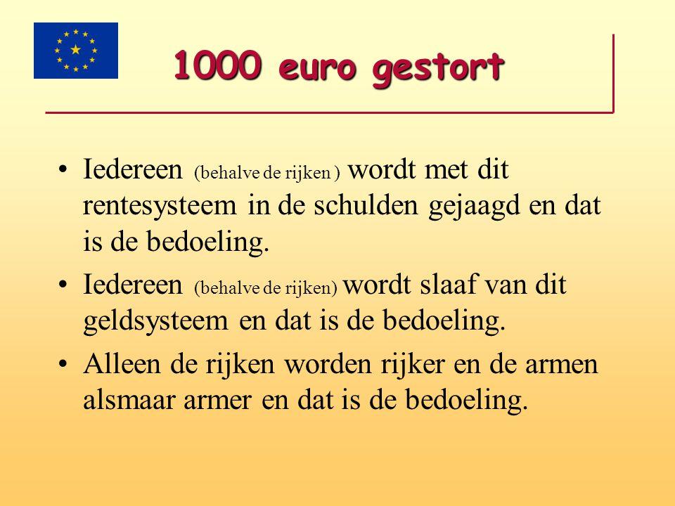1000 euro gestort Iedereen (behalve de rijken ) wordt met dit rentesysteem in de schulden gejaagd en dat is de bedoeling.
