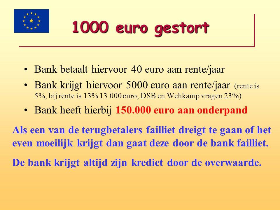 1000 euro gestort Bank betaalt hiervoor 40 euro aan rente/jaar