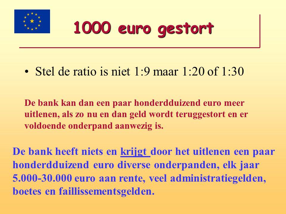1000 euro gestort Stel de ratio is niet 1:9 maar 1:20 of 1:30