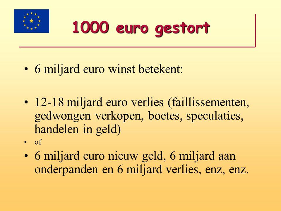 1000 euro gestort 6 miljard euro winst betekent: