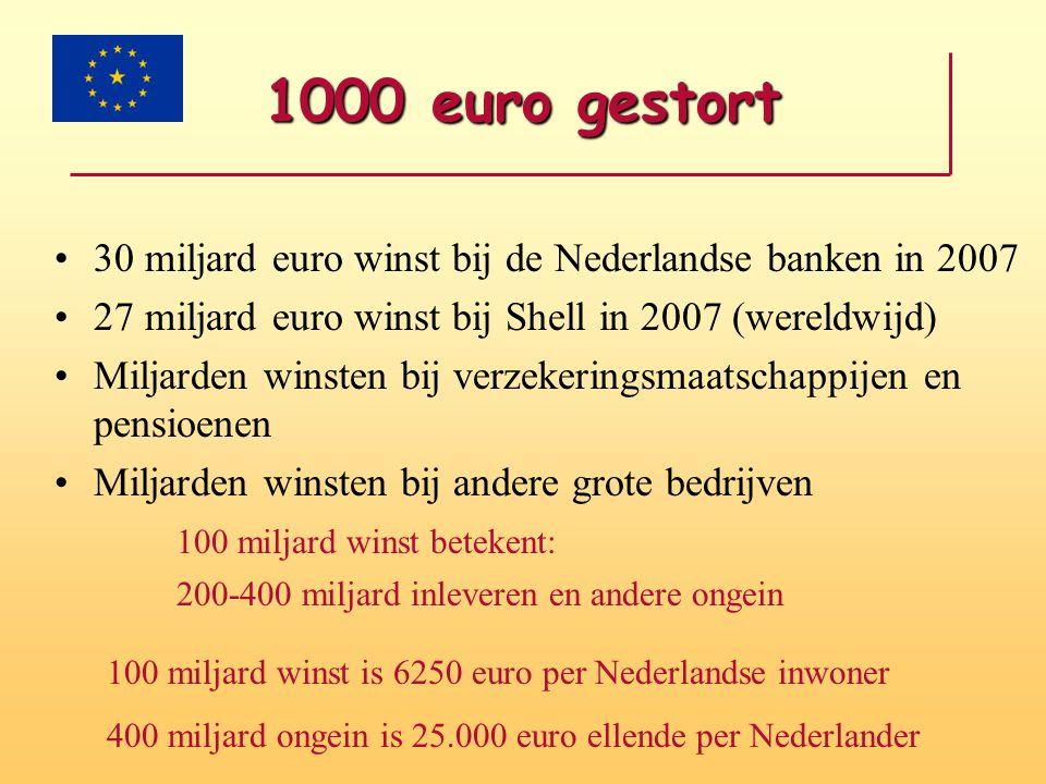 1000 euro gestort 30 miljard euro winst bij de Nederlandse banken in 2007. 27 miljard euro winst bij Shell in 2007 (wereldwijd)