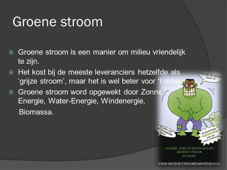 Groene stroom Groene stroom is een manier om milieu vriendelijk te zijn.