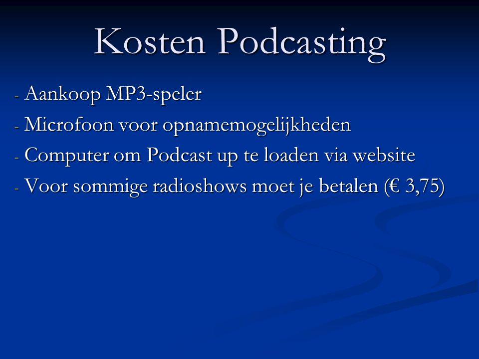 Kosten Podcasting Aankoop MP3-speler