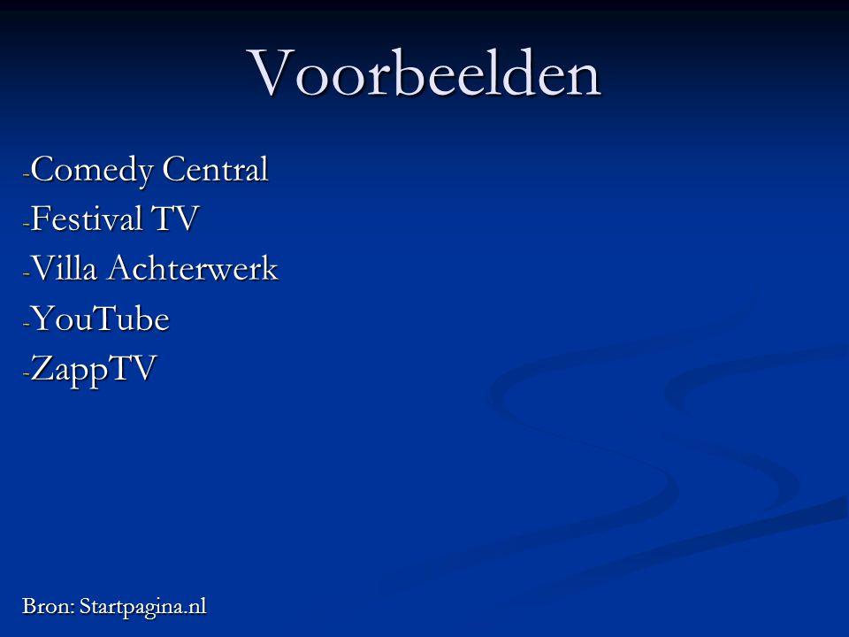 Voorbeelden Comedy Central Festival TV Villa Achterwerk YouTube ZappTV