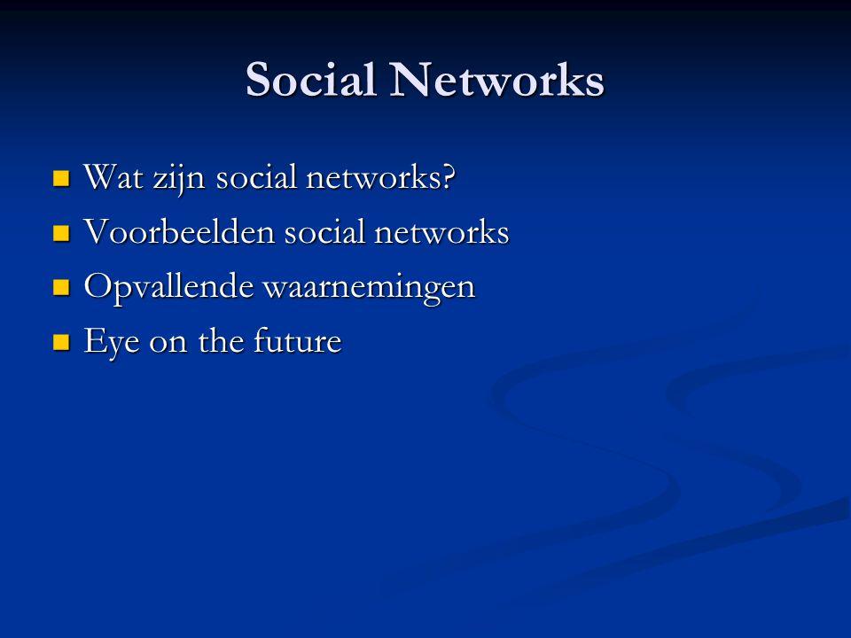 Social Networks Wat zijn social networks Voorbeelden social networks