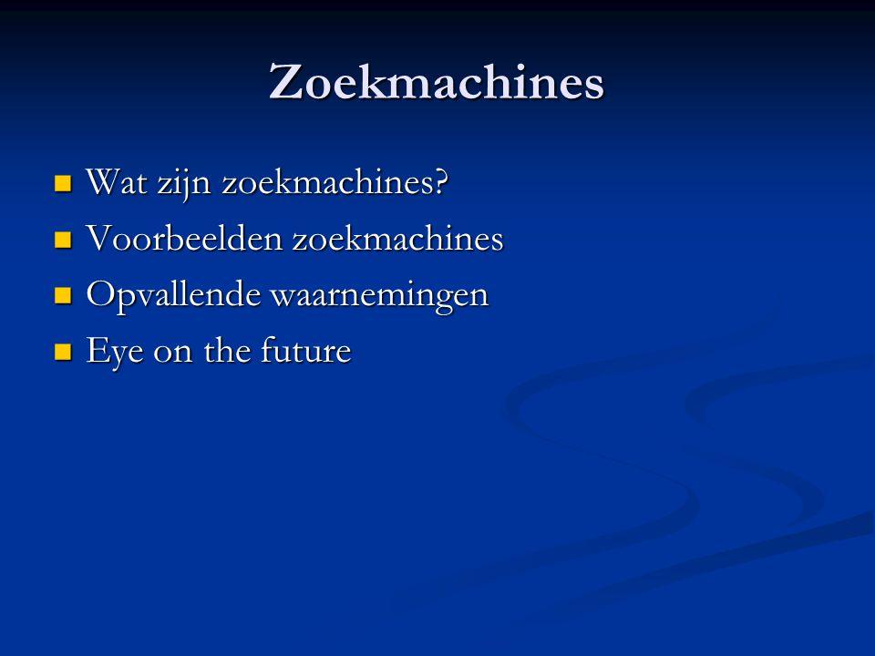 Zoekmachines Wat zijn zoekmachines Voorbeelden zoekmachines