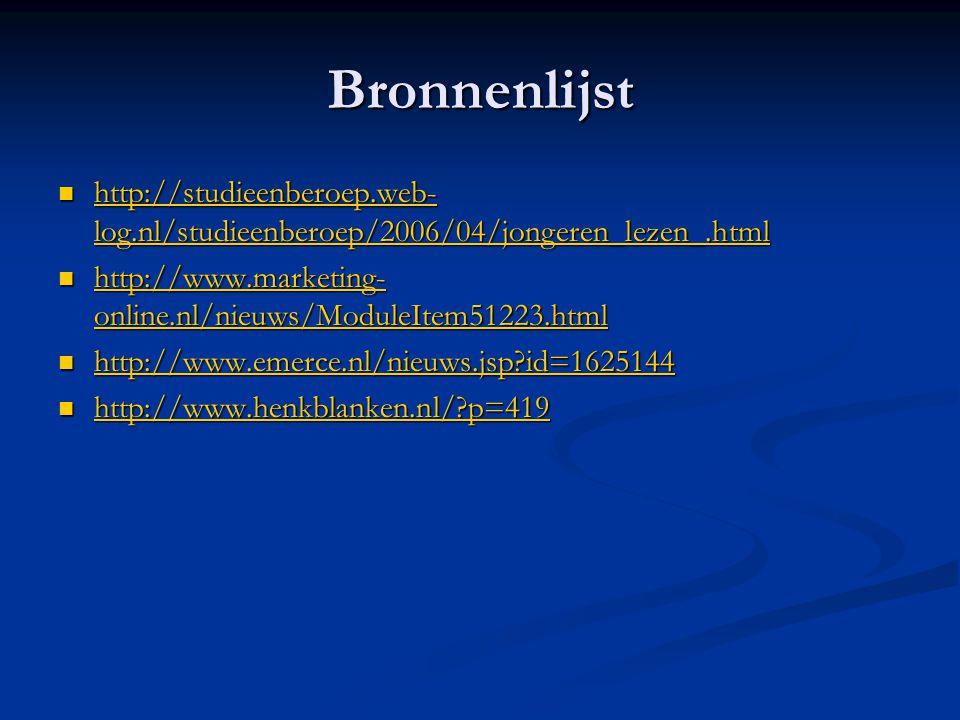 Bronnenlijst http://studieenberoep.web-log.nl/studieenberoep/2006/04/jongeren_lezen_.html.