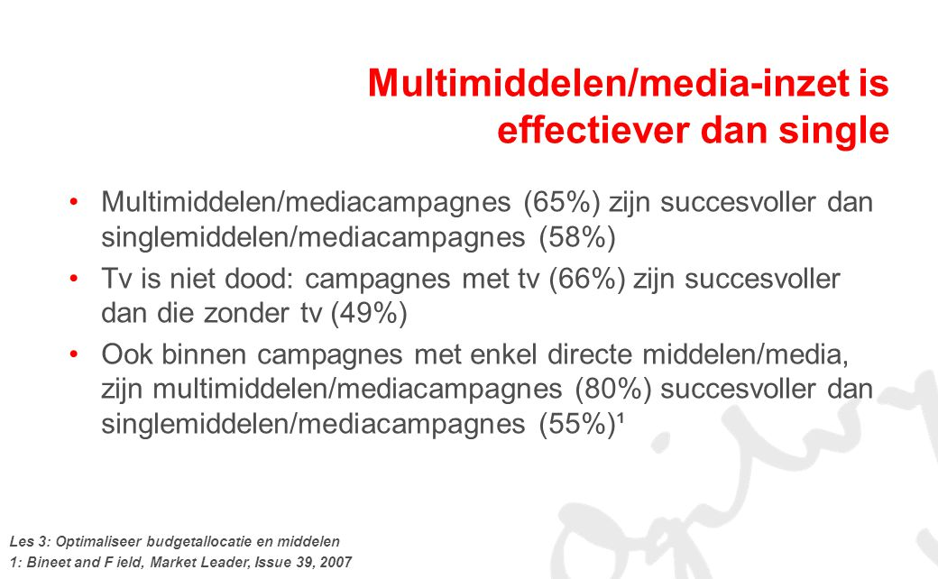 Multimiddelen/media-inzet is effectiever dan single