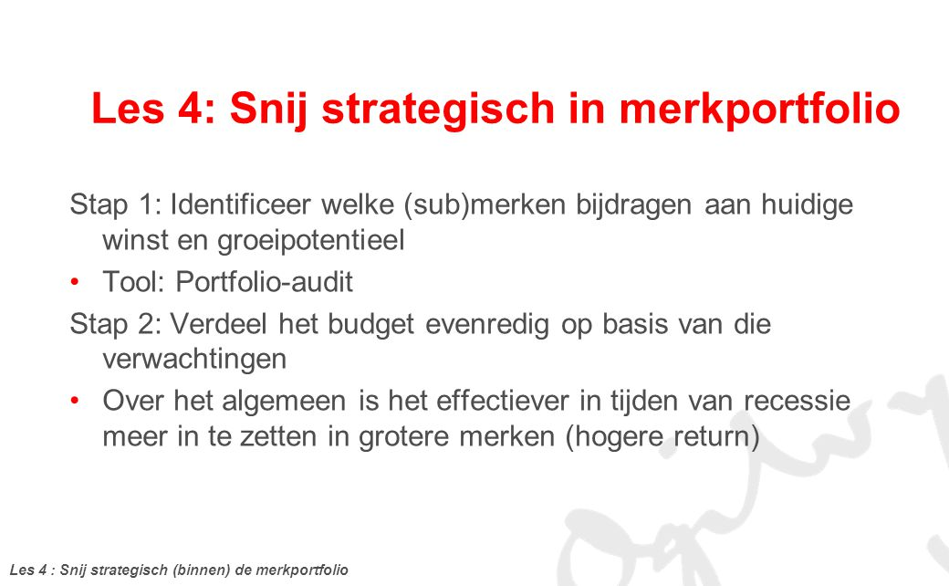Les 4: Snij strategisch in merkportfolio