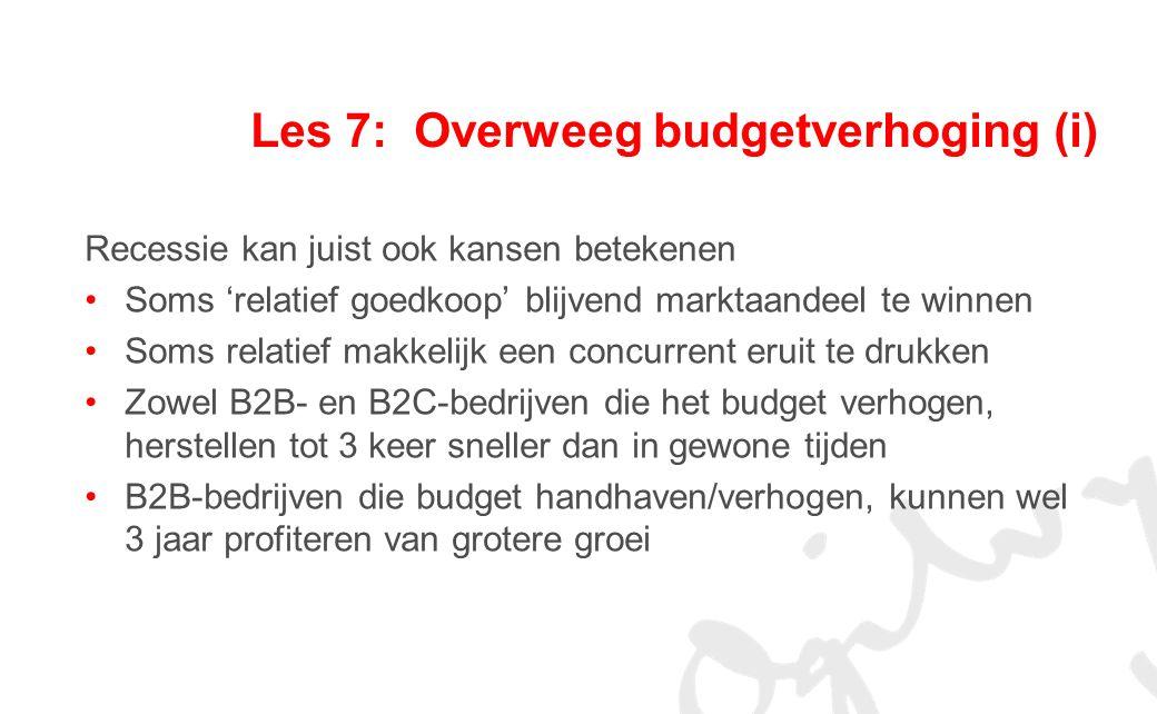 Les 7: Overweeg budgetverhoging (i)