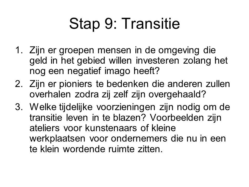 Stap 9: Transitie Zijn er groepen mensen in de omgeving die geld in het gebied willen investeren zolang het nog een negatief imago heeft