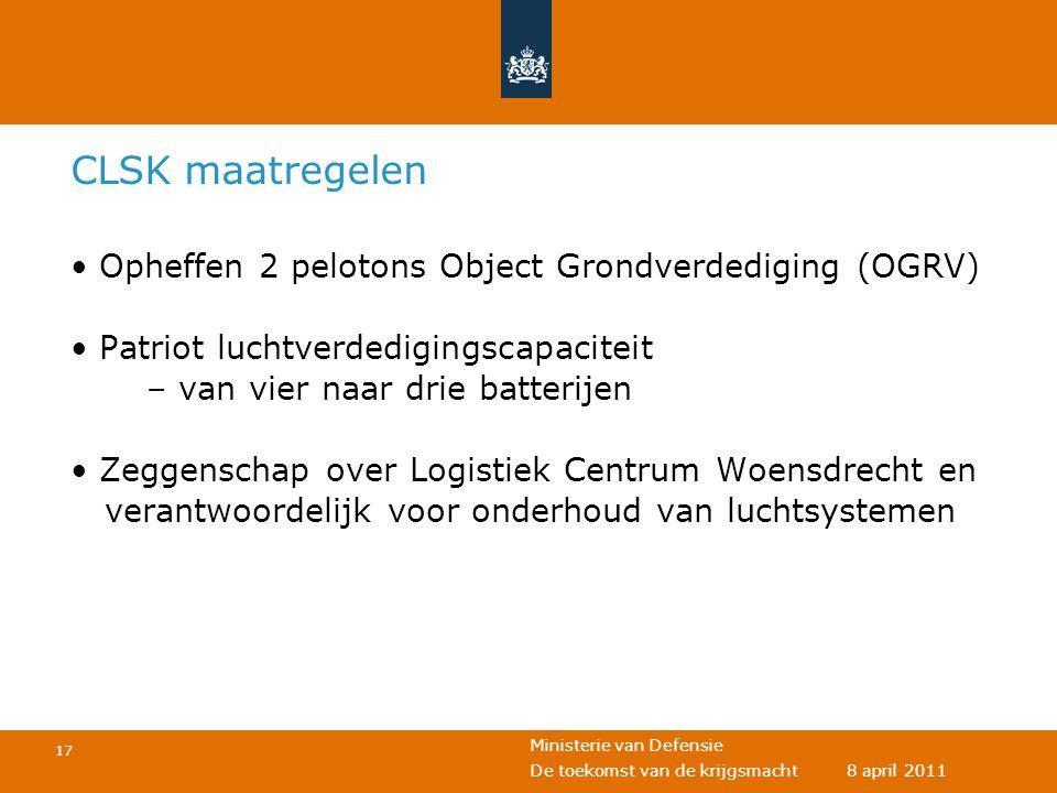 CLSK maatregelen Opheffen 2 pelotons Object Grondverdediging (OGRV)