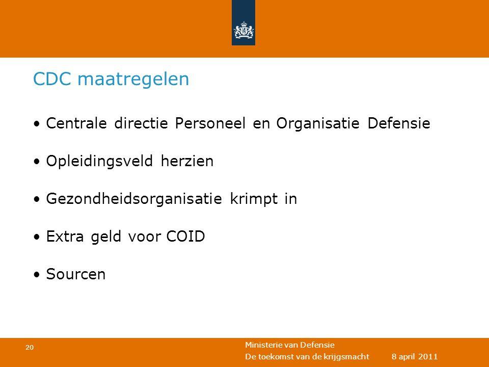 CDC maatregelen Centrale directie Personeel en Organisatie Defensie