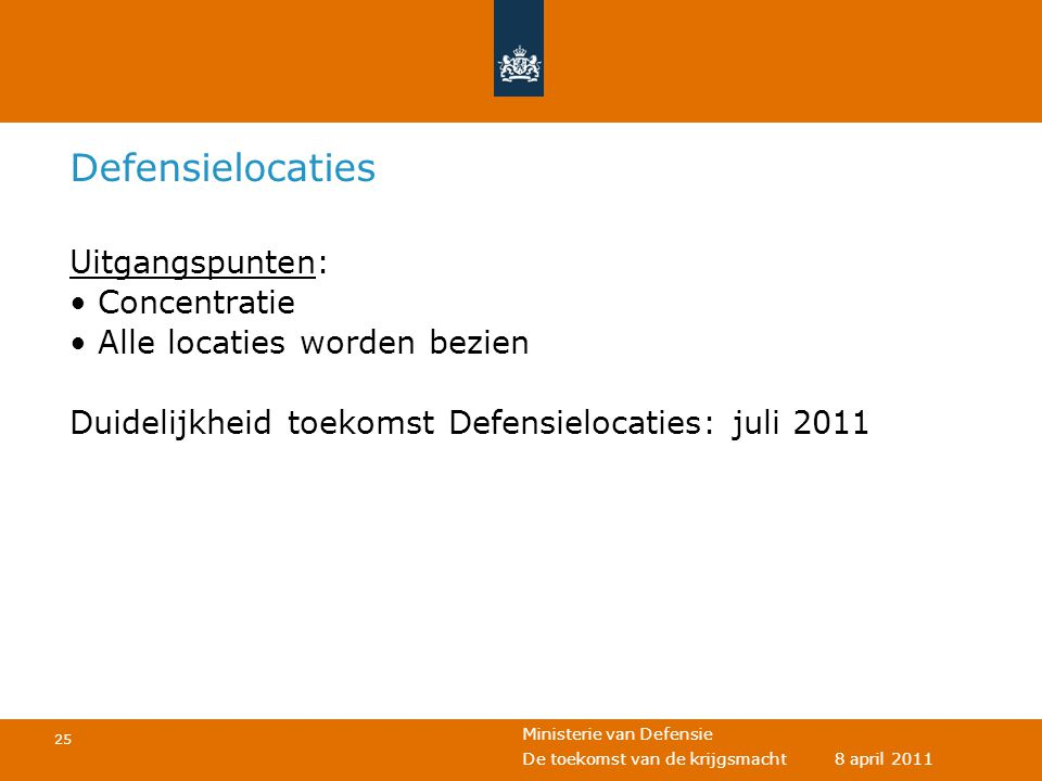 Defensielocaties Uitgangspunten: Concentratie