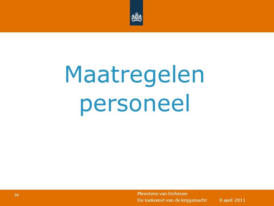 1 april 2011 Maatregelen personeel Eventuele voettekst