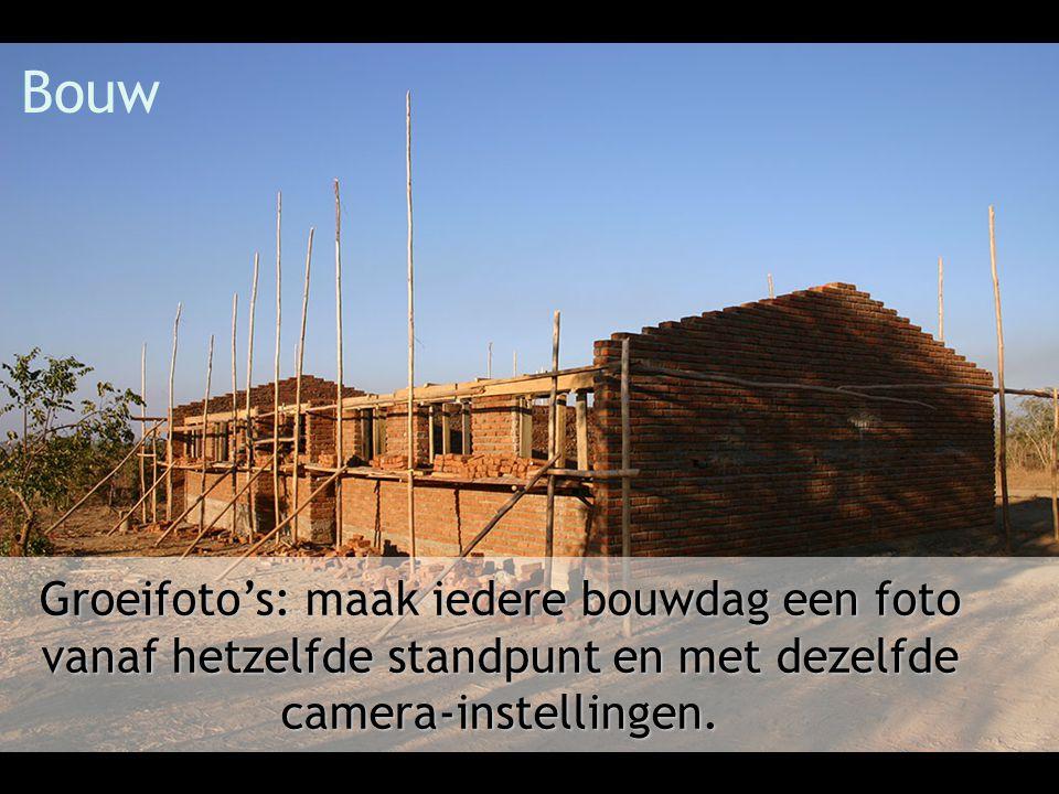 Bouw Groeifoto's: maak iedere bouwdag een foto vanaf hetzelfde standpunt en met dezelfde camera-instellingen.