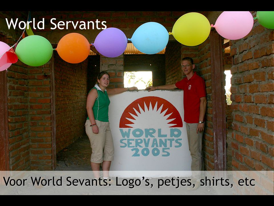 Voor World Sevants: Logo's, petjes, shirts, etc