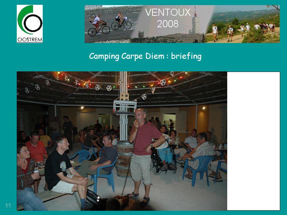 Camping Carpe Diem : briefing
