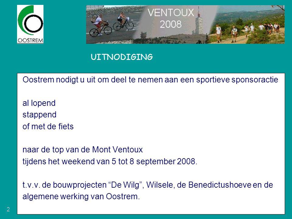 UITNODIGING Oostrem nodigt u uit om deel te nemen aan een sportieve sponsoractie. al lopend. stappend.