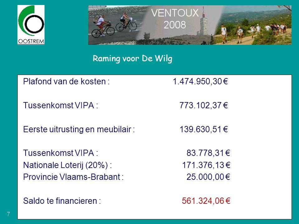 Raming voor De Wilg Plafond van de kosten : 1.474.950,30 € Tussenkomst VIPA : 773.102,37 € Eerste uitrusting en meubilair : 139.630,51 €