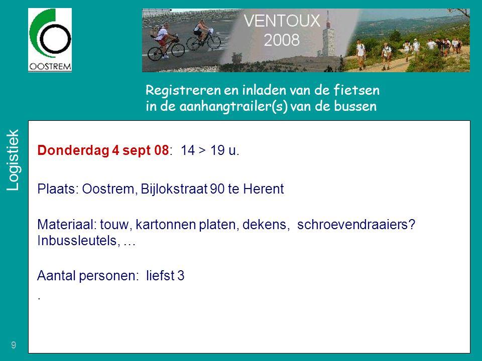 Registreren en inladen van de fietsen in de aanhangtrailer(s) van de bussen