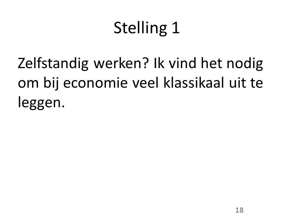 Stelling 1 Zelfstandig werken Ik vind het nodig om bij economie veel klassikaal uit te leggen.