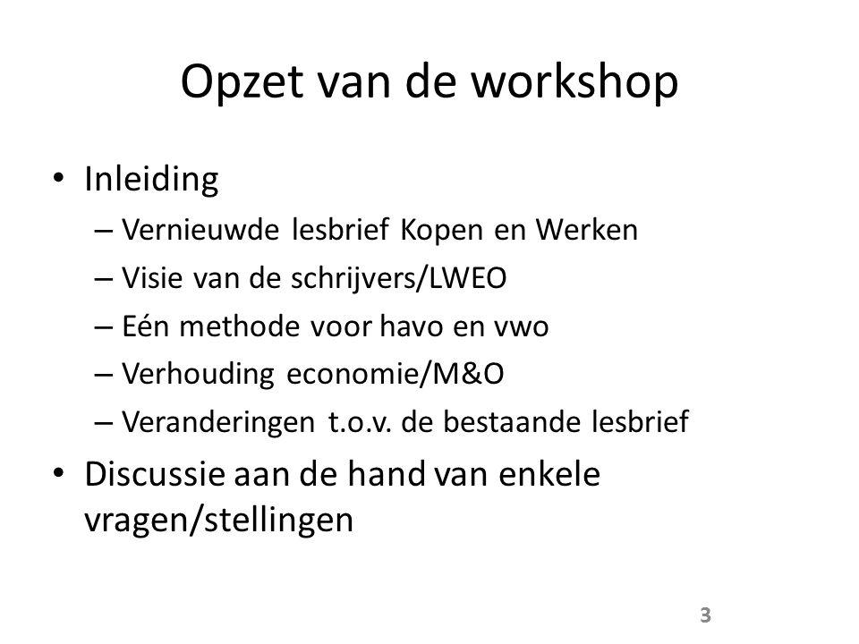 Opzet van de workshop Inleiding