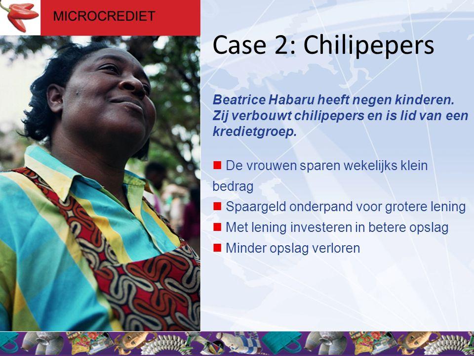 Case 2: Chilipepers Beatrice Habaru heeft negen kinderen. Zij verbouwt chilipepers en is lid van een kredietgroep.