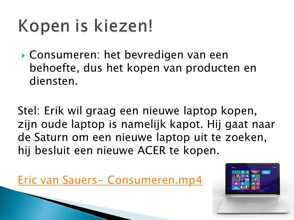 Kopen is kiezen! Consumeren: het bevredigen van een behoefte, dus het kopen van producten en diensten.