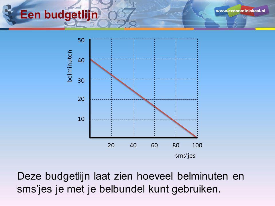 Een budgetlijn sms'jes. belminuten. 10. 20. 30. 40. 50. 60. 80. 100.