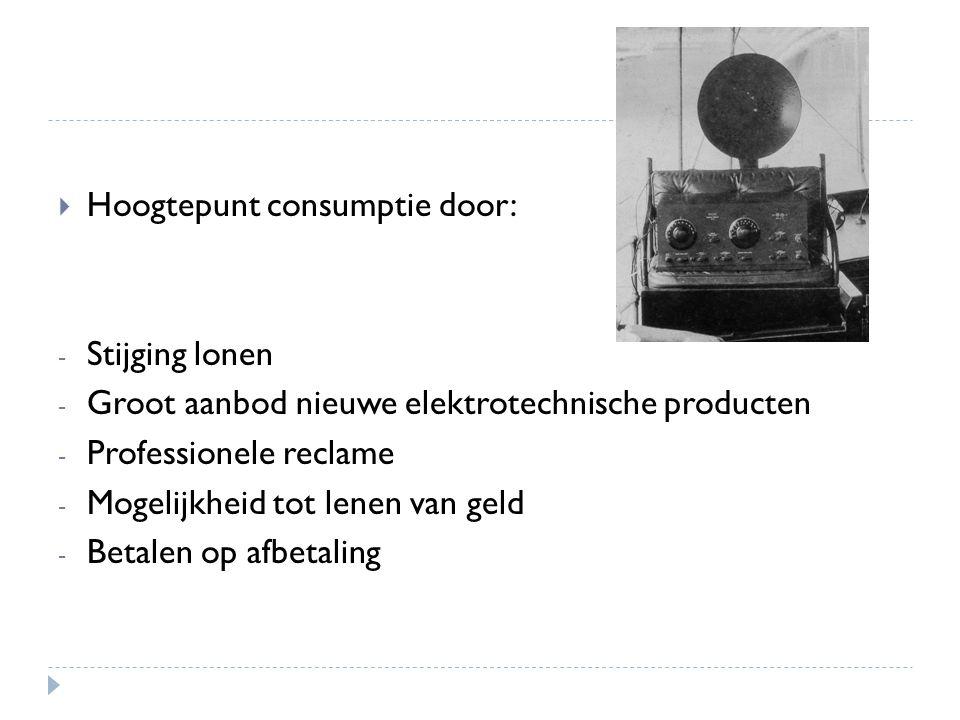 Hoogtepunt consumptie door: