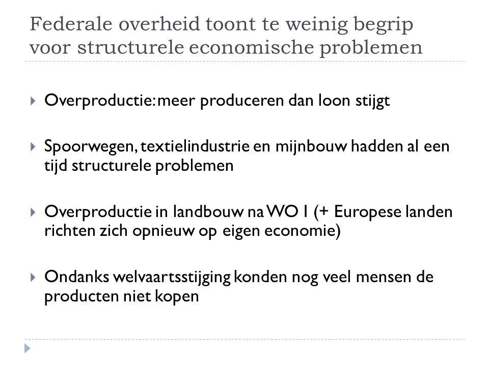Federale overheid toont te weinig begrip voor structurele economische problemen