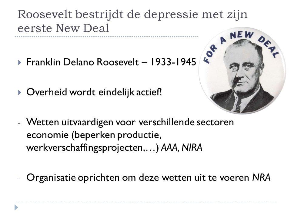 Roosevelt bestrijdt de depressie met zijn eerste New Deal