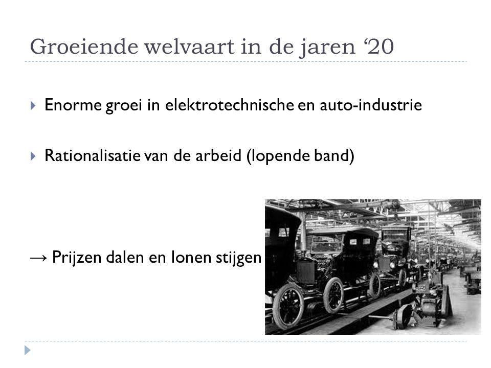 Groeiende welvaart in de jaren '20