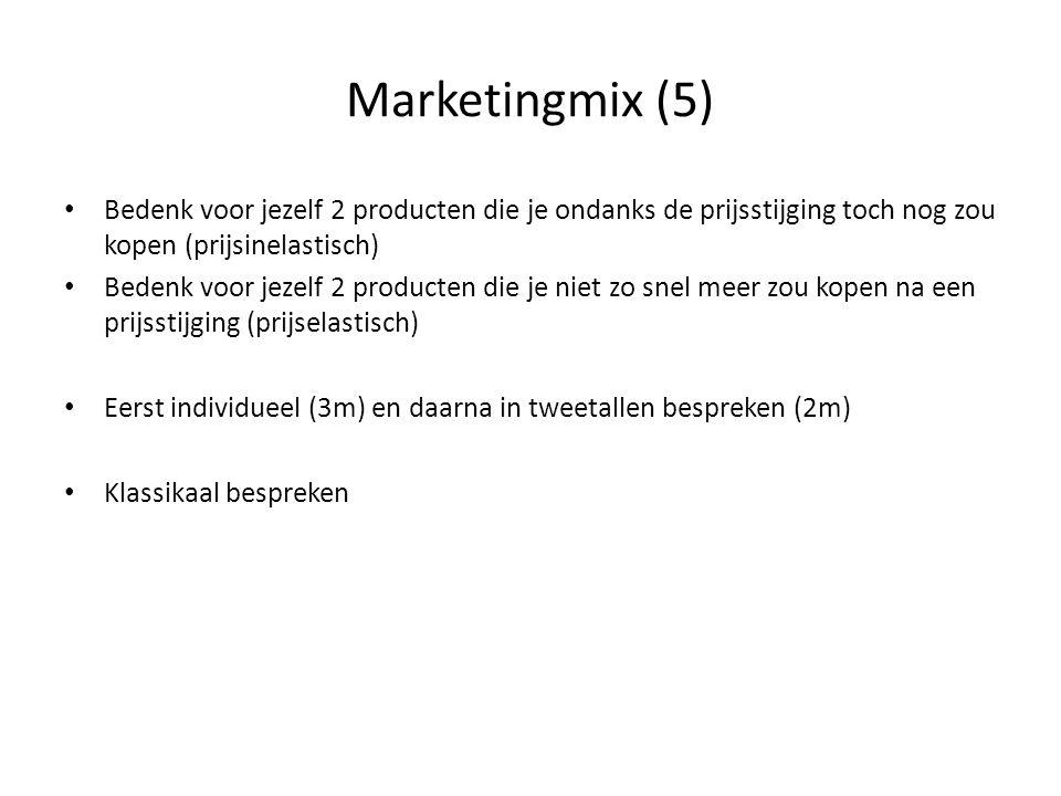 Marketingmix (5) Bedenk voor jezelf 2 producten die je ondanks de prijsstijging toch nog zou kopen (prijsinelastisch)