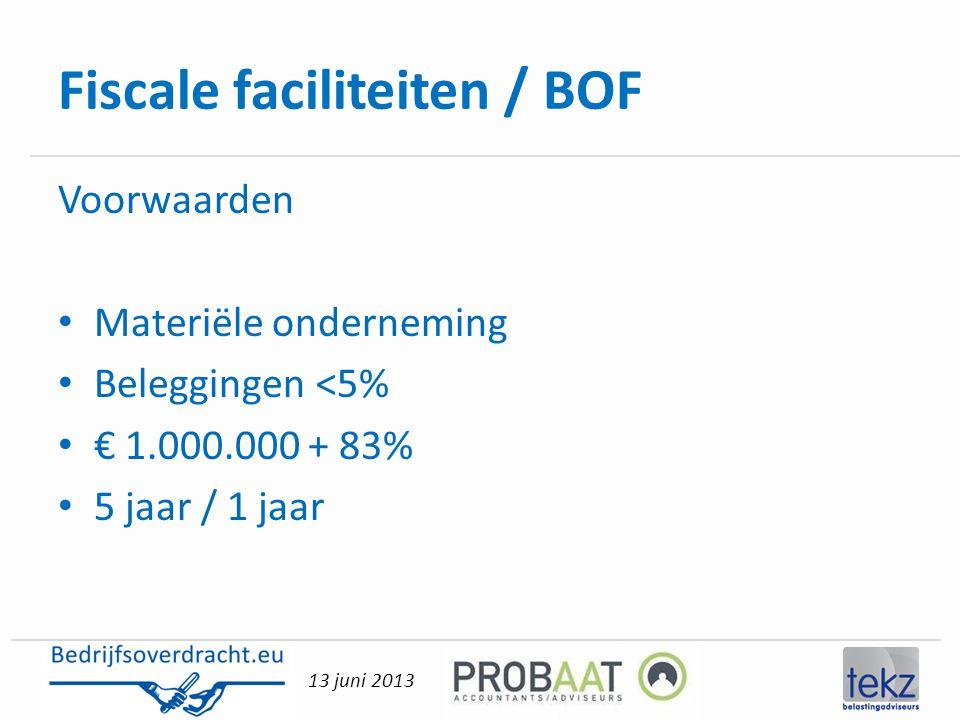 Fiscale faciliteiten / BOF
