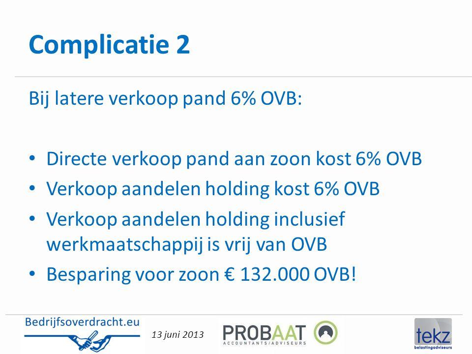 Complicatie 2 Bij latere verkoop pand 6% OVB: