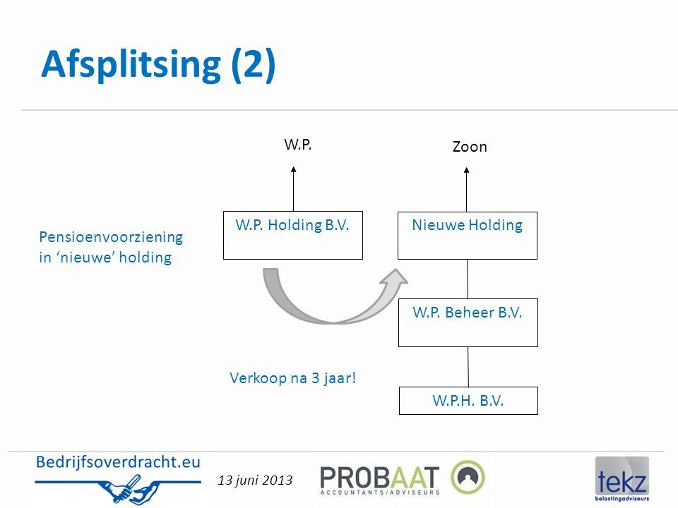 Afsplitsing (2) W.P. Zoon W.P. Holding B.V. Nieuwe Holding