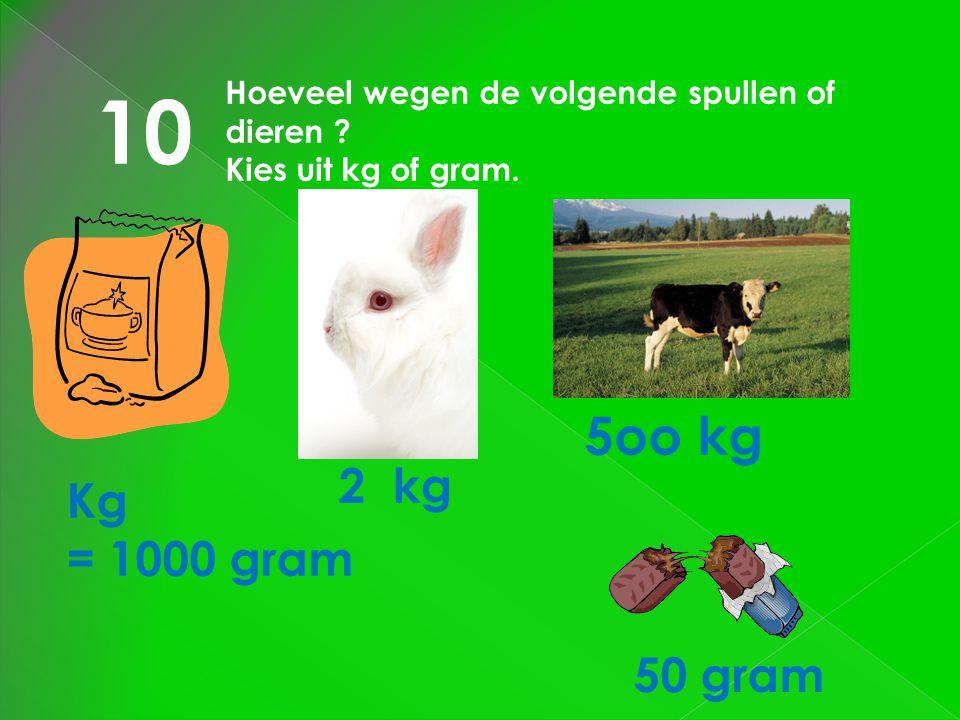 10 Hoeveel wegen de volgende spullen of dieren Kies uit kg of gram. 5oo kg. 2 kg. Kg. = 1000 gram.