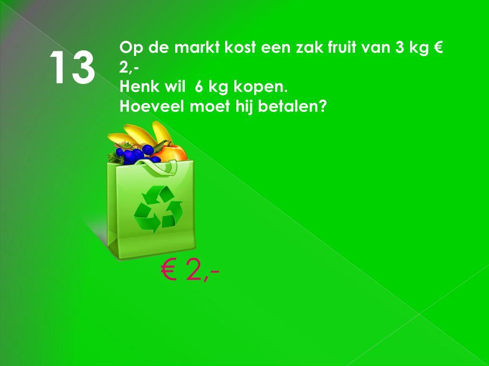 13 € 2,- Op de markt kost een zak fruit van 3 kg € 2,-