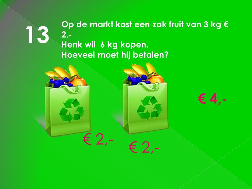 13 € 2,- € 2,- € 4,- Op de markt kost een zak fruit van 3 kg € 2,-