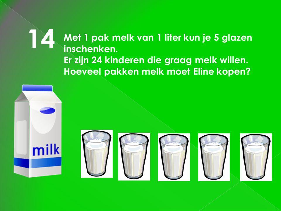 14 Met 1 pak melk van 1 liter kun je 5 glazen inschenken.