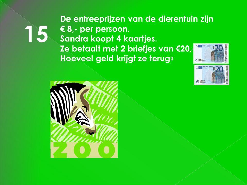 15 De entreeprijzen van de dierentuin zijn € 8,- per persoon.